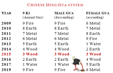 Heluo Hill Chinese Ming Gua number in Flying Star Feng Shui